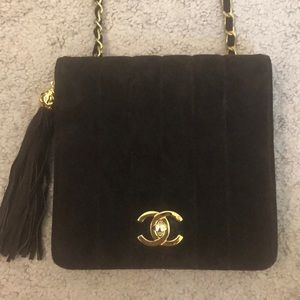 Chanel Brown Suede Crossbody Clutch